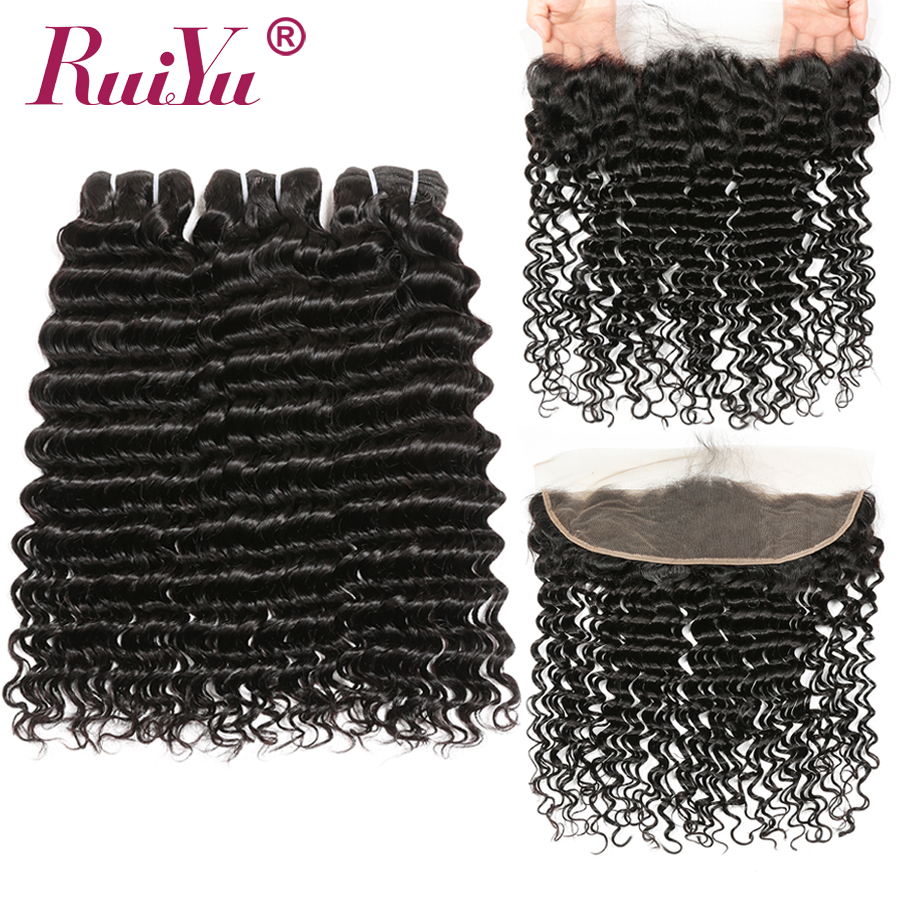 Brazilian Deep Wave Bundles With Frontal Closure 13x4 Lace Frontal With Bundles Human Hair 3 Bundles