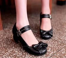 Women Leather Lolita Shoes PU Leather Shoes 2016 New Bow Embellished Princess Shoes Buckle Straps Chunky Heel Ladies Pumps