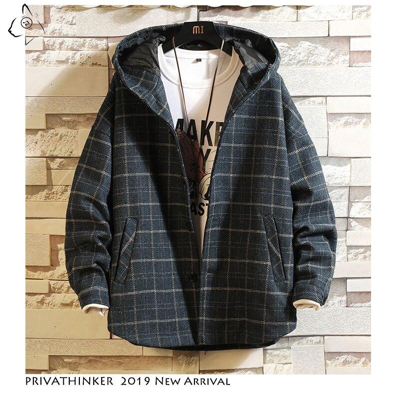 Privathinker homme Streetwear 2019 laine tissu vestes hommes épais coupe-vent veste mâle automne hiver japonais Oversize veste