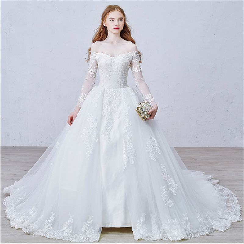 Wedding Dresses Wedding Gown Sheer Long Sleeves White: Aliexpress.com : Buy Off Shoulder White Lace Princess