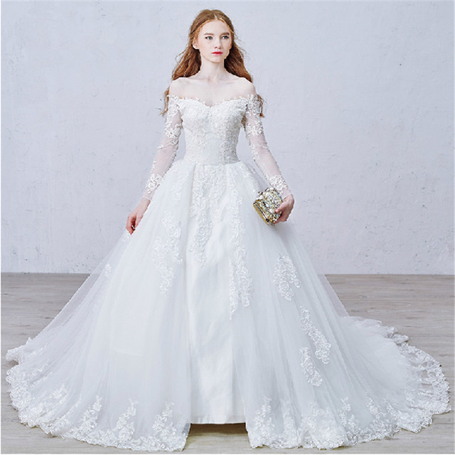 4eba24626661 Off-Shoulder White Lace Princess Wedding Gowns Long Sleeves Sheer Organza Wedding  Dresses Ball-Gowns Pllus Size Zipper