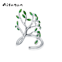 Aitunan Vintage Tree Shape Green Leaf Silver Color Open Adjustable Finger Rings For Women Girls Party