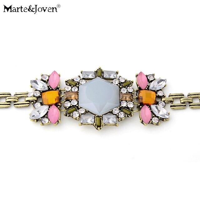 Marte Joven Vintage Rhinestone Resin Flower Charm Bracelet Jewelry For Women Ethnic Style Hyperbole Chain Bracelets