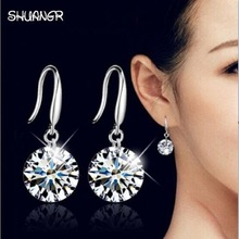 SHUANGR Fashion Rhodium Color Drop Earring for Women Silver Color Dangle Earing Crystal CZ Zircon Statement Wedding Ball Jewelry
