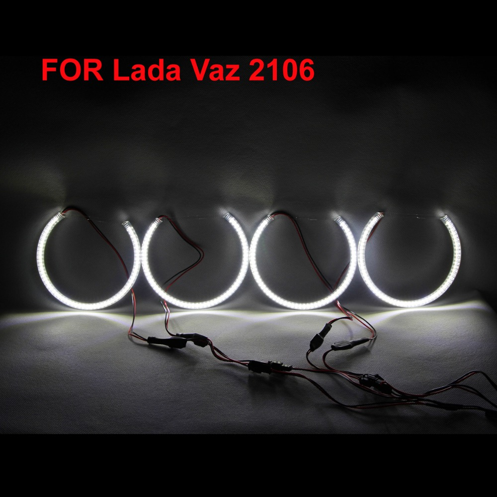 Custom Angel Eyes SMD Super LED Light Headlights Daytime Running Light DRL For LADA Vaz 2100 / 2112 / 2109 / <font><b>2106</b></font> - One Set image