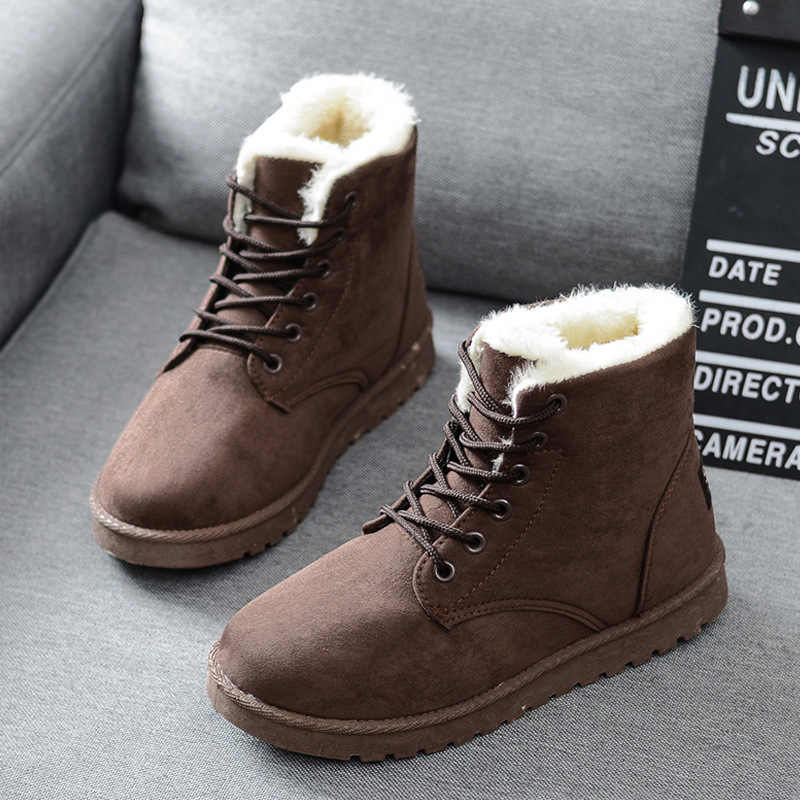 Ücretsiz kargo kadın çizmeler Faux süet kar botları kadın yarım çizmeler sıcak kürk kadın patik katı kışlık botlar deri kadın ayakkabı