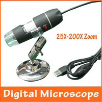 25 200X Zoom Illumination USB Hand Electronic Digital Microscope Pocket Magnifier with 8pcs LED Lights and Measuring Scale