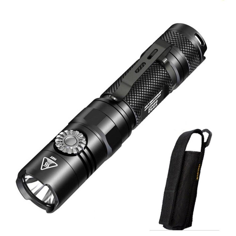NITECORE EC22 New Flashlight XP-L HD V6 LED max. 1000lm beam distance 180m tacitcal light infinitely variable brightness torch acebeam uc15 edc keychain light nichia xp l2 xpe2 led max 1000lm beam distance 107m white red uv light mini flashlight