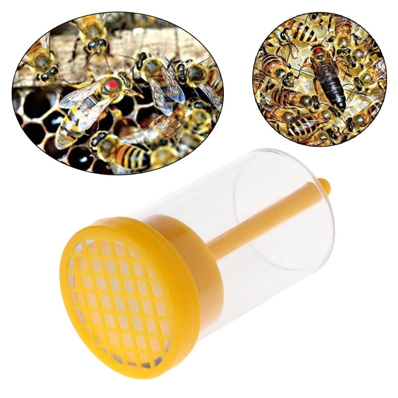 Bee Queen Bottle Marker Marking Cage With Plunger Plastic Beekeeping Equipment