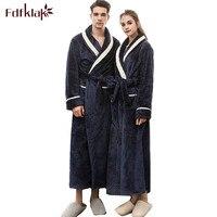 Fdfklak Dressing gown for women couple's bathrobes thicken flannel bath robe warm long sleepwear robes home clothes kimono men