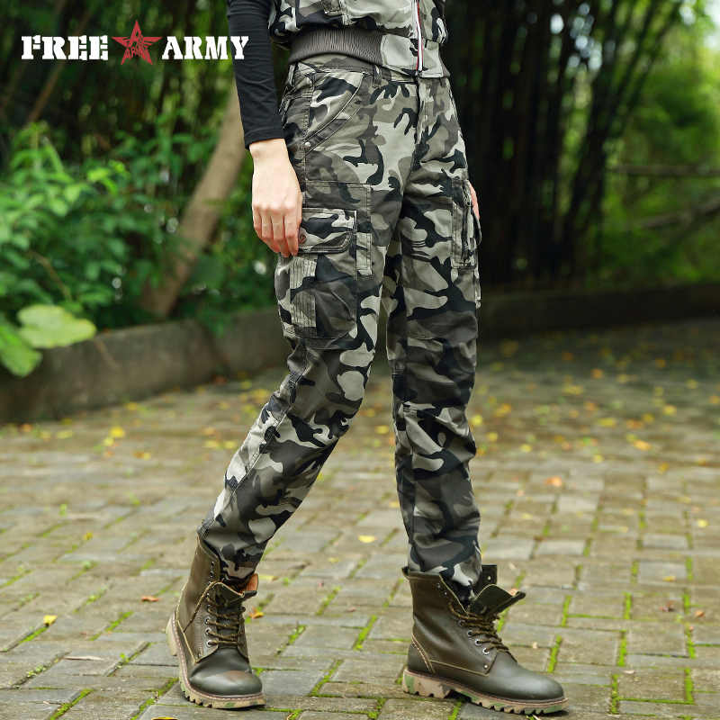 81be33c3f0f Brand Military Camouflage Trousers Women Pants Mid Waist Twill Cotton Casual  Sweatpants Leisure Trouser Capris Female