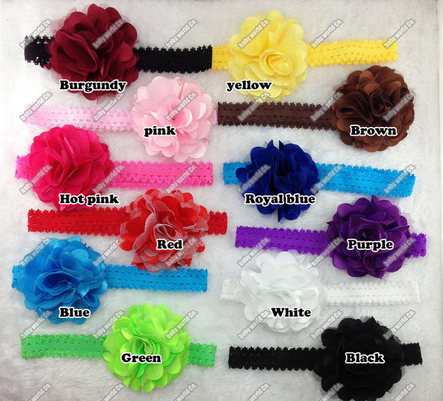 "Hair accessory 15pcs/lot 3.5"" Big Mesh Chiffon Satin Flowers 2cm lace Elastic headbands for baby girl Toddler bow"