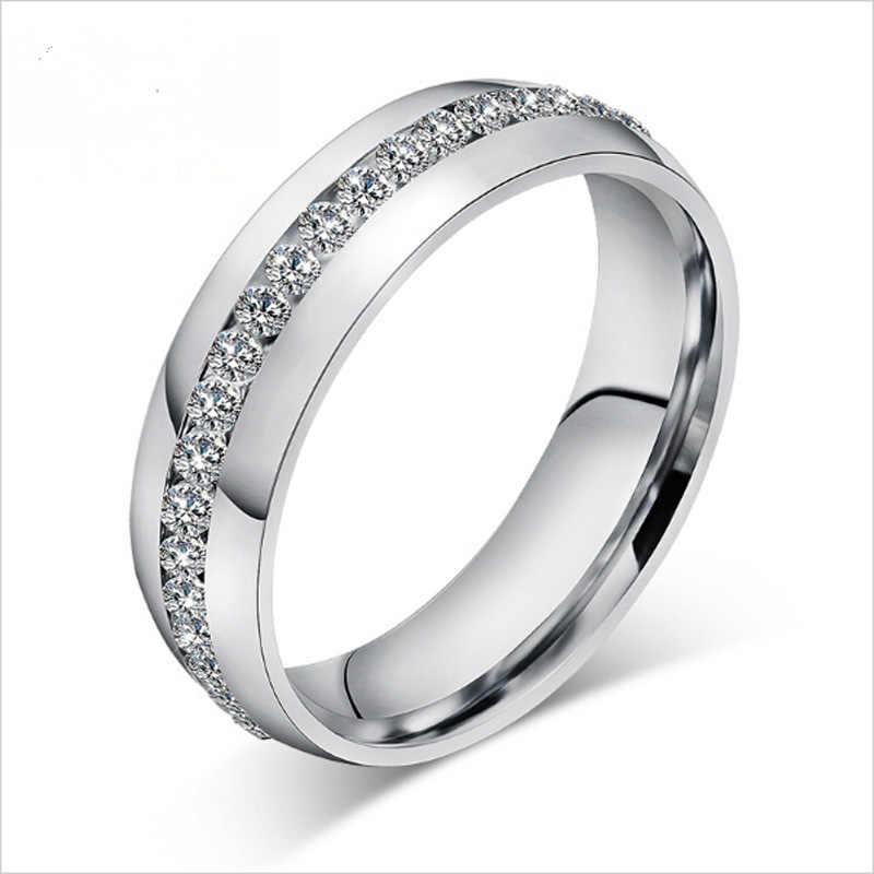 5 mét Xiên Zircon Khắc 316L Thép Không Gỉ finger Engagement rings Wedding phụ nữ và nam giới