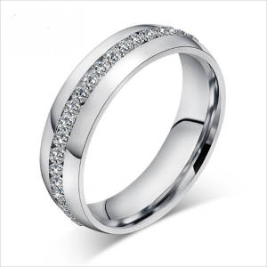 5mm Oblique Zircon Carving 316L Stainless Steel finger Engagement Wedding rings rings
