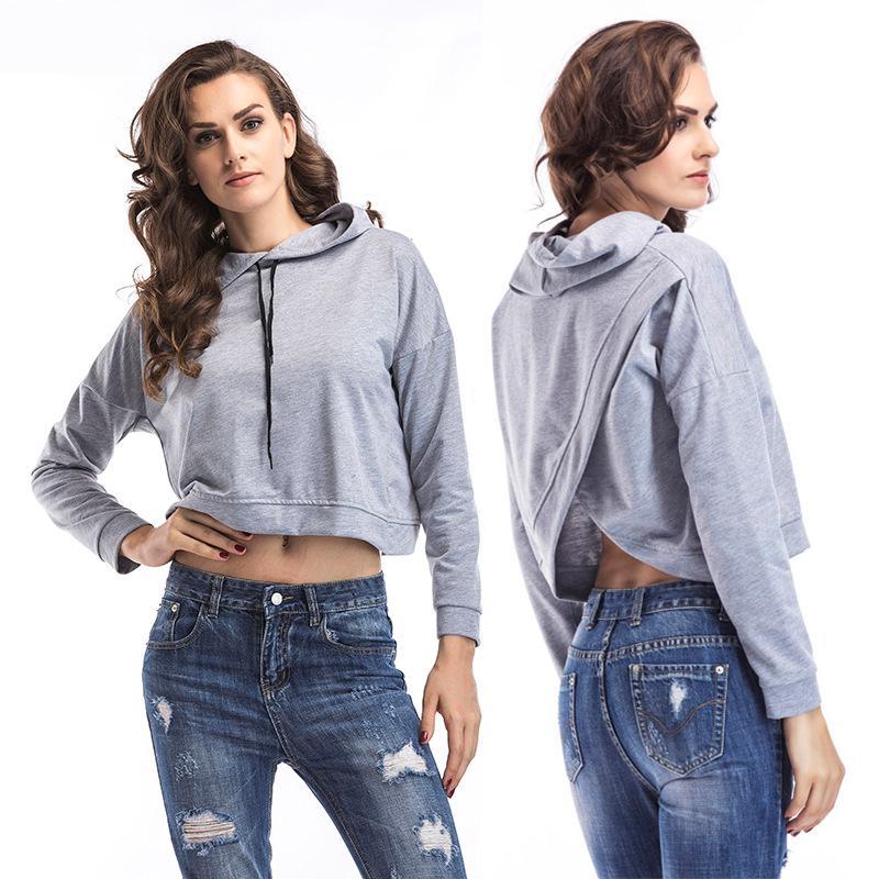 Mizi Terjojo Women   Basic     Jackets   Short coat Open back design Female Casual Long Sleeves Hooded Windbreaker   Jacket   bj1874