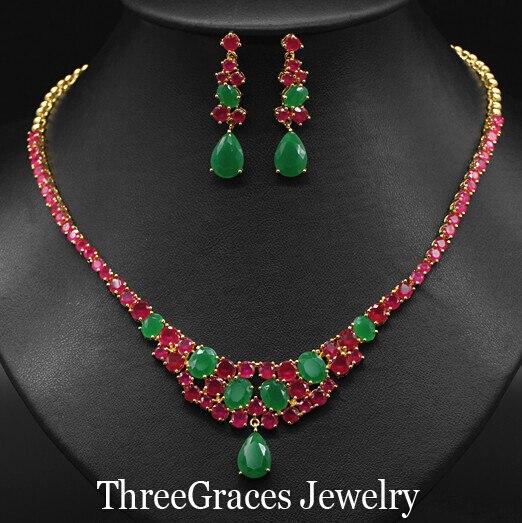 Старинные Позолоченные Свадебные Ювелирные Изделия Австрийский Создания Изумрудно-Зеленый Красный Кристалл Ожерелье Серьги Наборы Для Женщин JS051