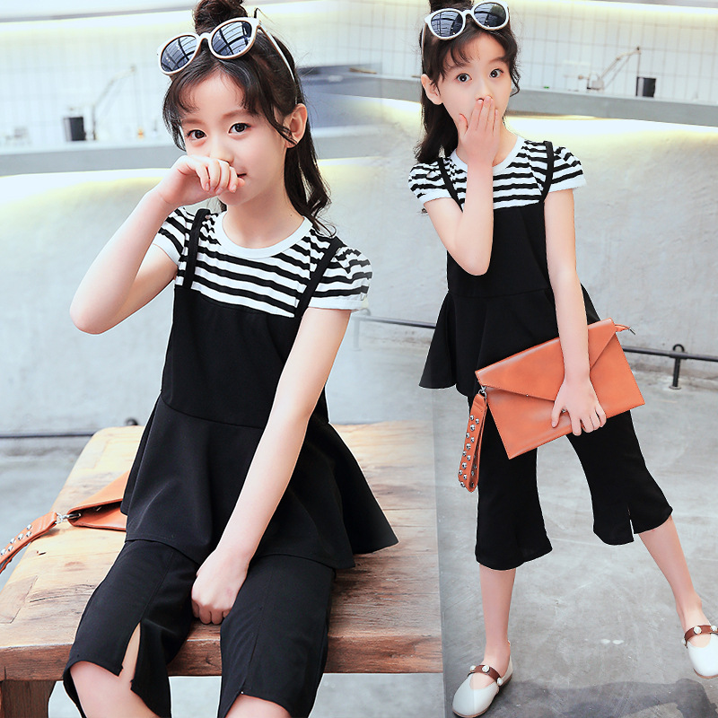 Girls Clothing Sets Summer Sports Fashion Cute Suit Children 2018 New Girls Short Sleeved Clothes Pants 2pcs For Kids Clotheste