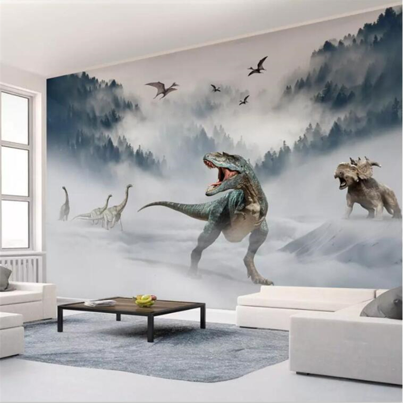 Beibehang Wallpaper Custom High-end New Chinese Landscape Forest Dinosaur World TV Background Wall Painting Papel De Parede