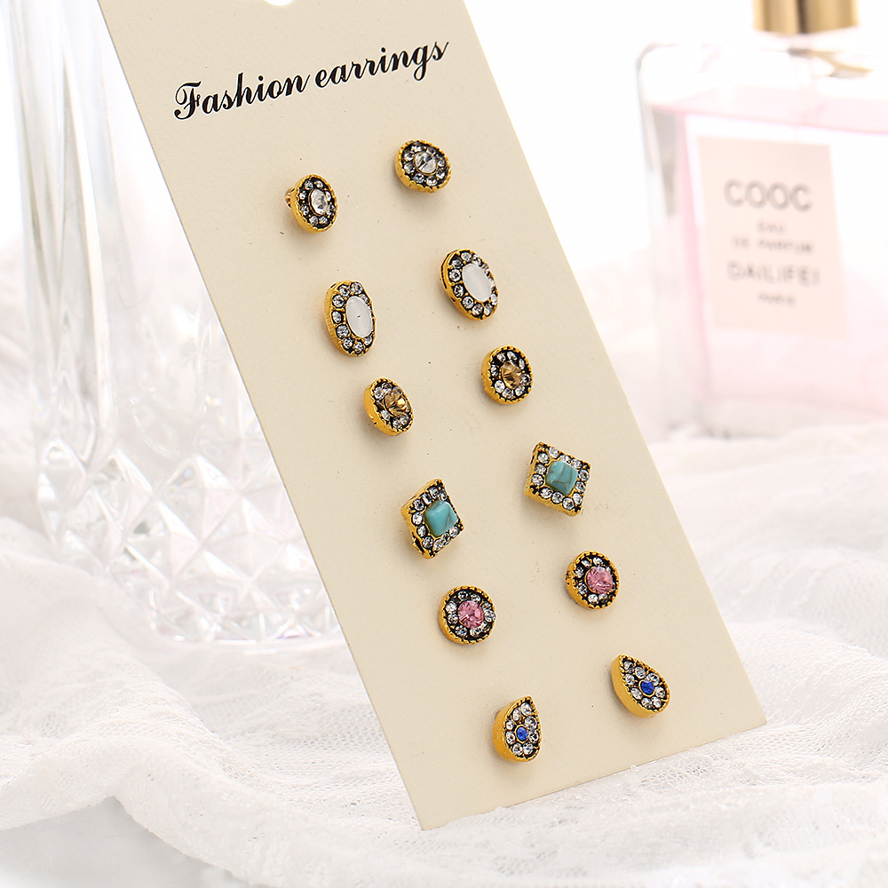 Hocole Retro Style Gold Cute Heart Rhinestone Stud Earrings Flower Charm Mixed Earring Sets For 6 Pairs Lot Jewelry In From