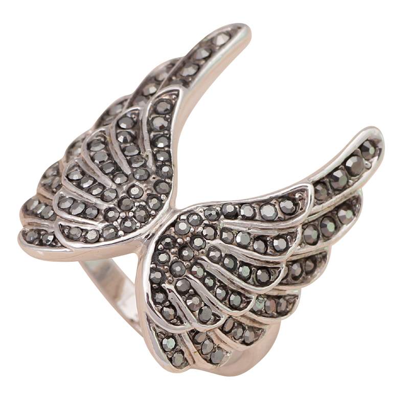Noble black onyx zircon Wings White gold tone Italina Seduction fashion jewelry Rings USA size #6#6.5#7.75#9 JR1975A
