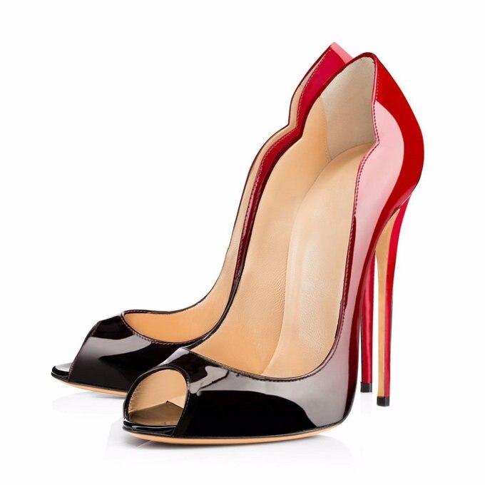 Ayakk.'ten Kadın Pompaları'de 2018 yaz kraliyet mavi sandalet artı boyutu 13 14 özelleştirmek herhangi bir renk elbise ayakkabı kadın 12 cm peep toe deri Leopar slip 'da  Grup 3
