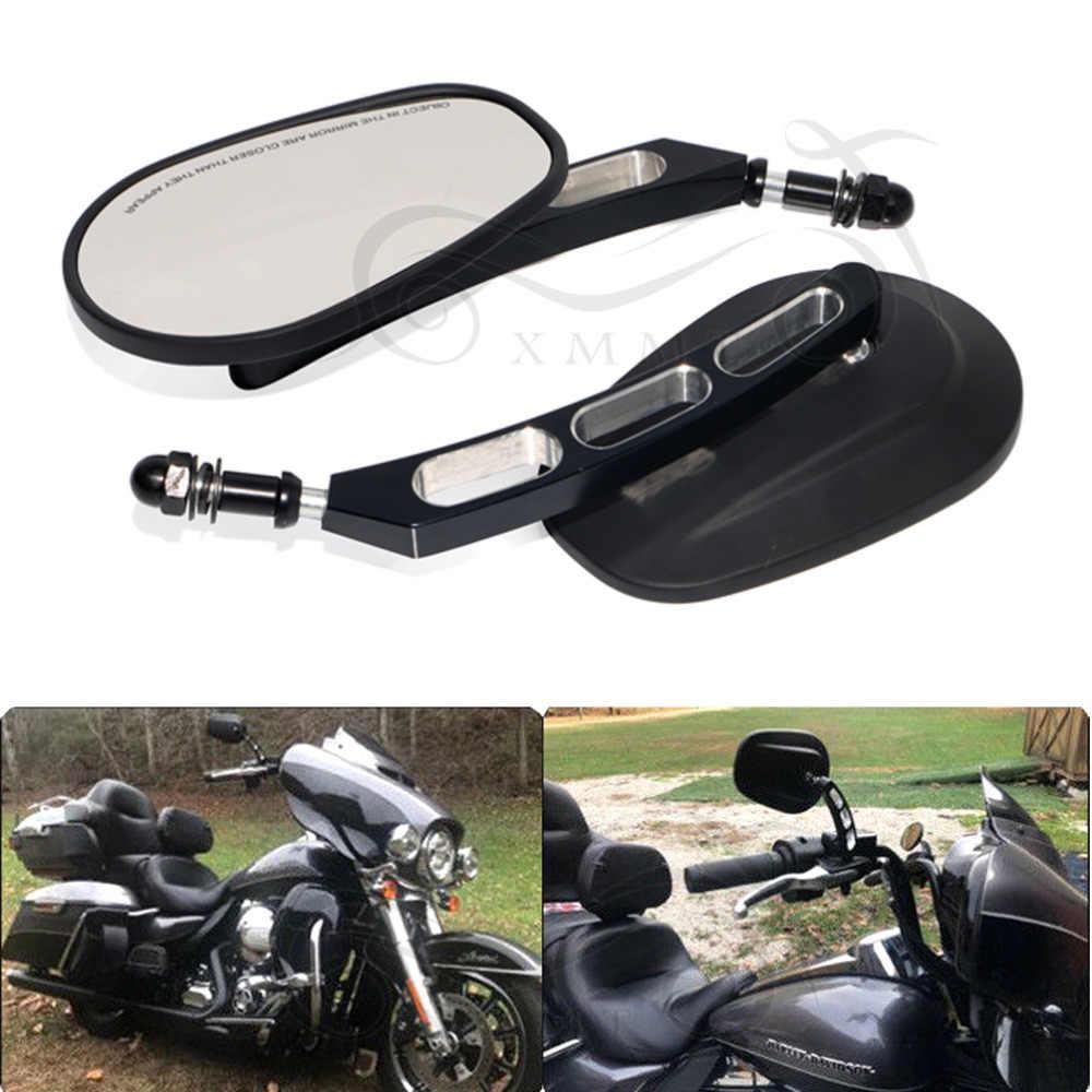 Motor Hitam Belakang Sisi Cermin untuk Harley Road King Touring Street Bob Fxdb Fatboy Besi 883 Sportster 1200 Dyna softail