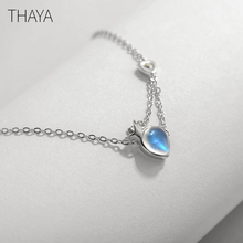 Thaya Original Princess and Knight Necklace Natural Moonstone Water Drop Shape Design Sterling Silver for Women Elegant Gift