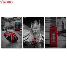 3 Pieces Diamond Embroidery Black And White Red London Bus England British Diamond Mosaic 5D DIY Diamond Painting Cross Stitch