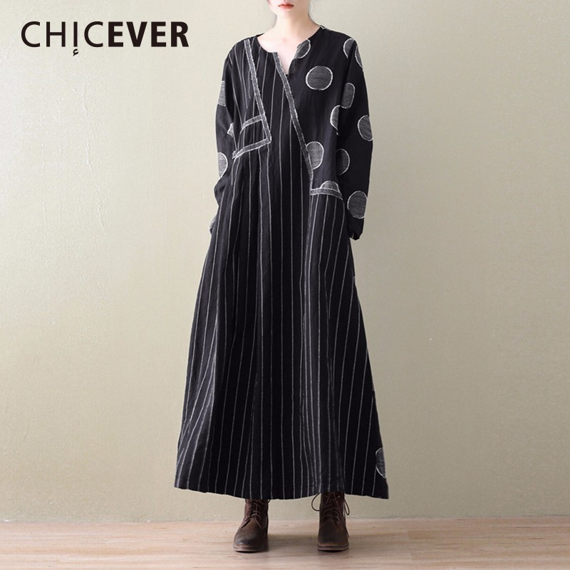 CHICEVER Spring Vintage Asymmetrical Women Dress Female Long Sleeve Striped Dot Womens Dresses Of The Big Size Clothes Fashion