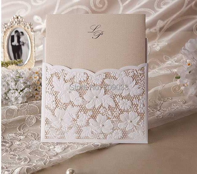 Swirl Pattern Laser Cut Wedding Invitations With Nice Bowin