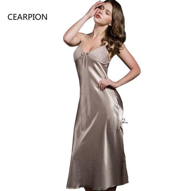 CEARPION Camel Long Nightdress Rayon Nightwear Sexy Lace Suspender Nighty  Sleepwear Women s Home Dressing Gown Split Negligee 6f594c4a1227