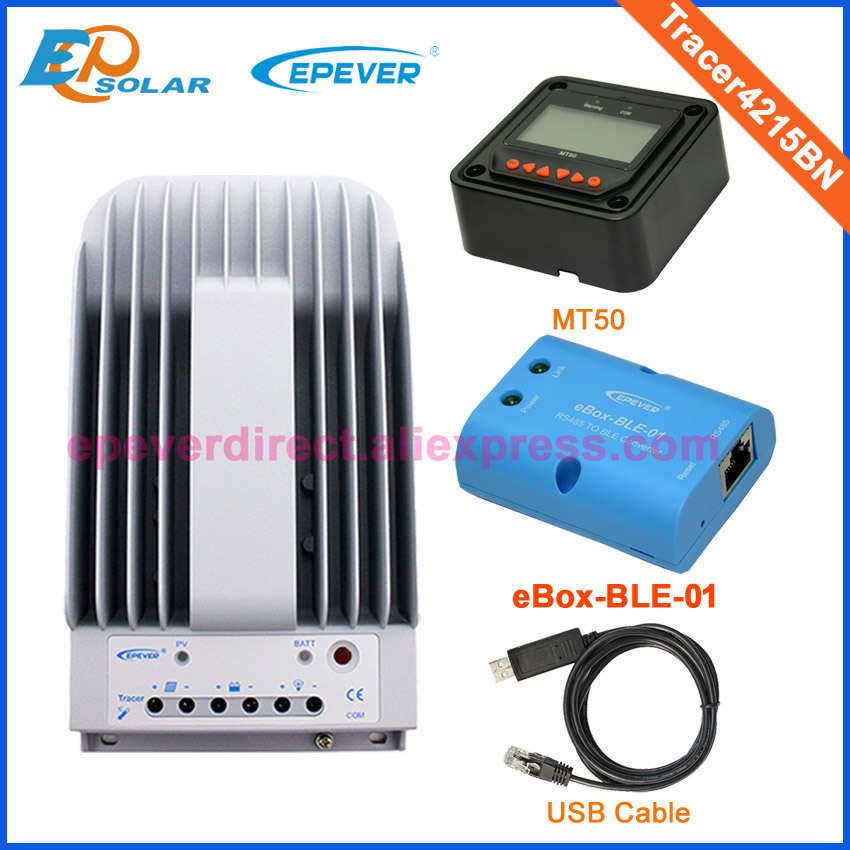 Solar power controller 12v 24v auto work Tracer4215BN mppt bluetooth eBLE-BOX-01 MT50 meter and USB cable 40A 40amp sm206 solar power meter for solar research