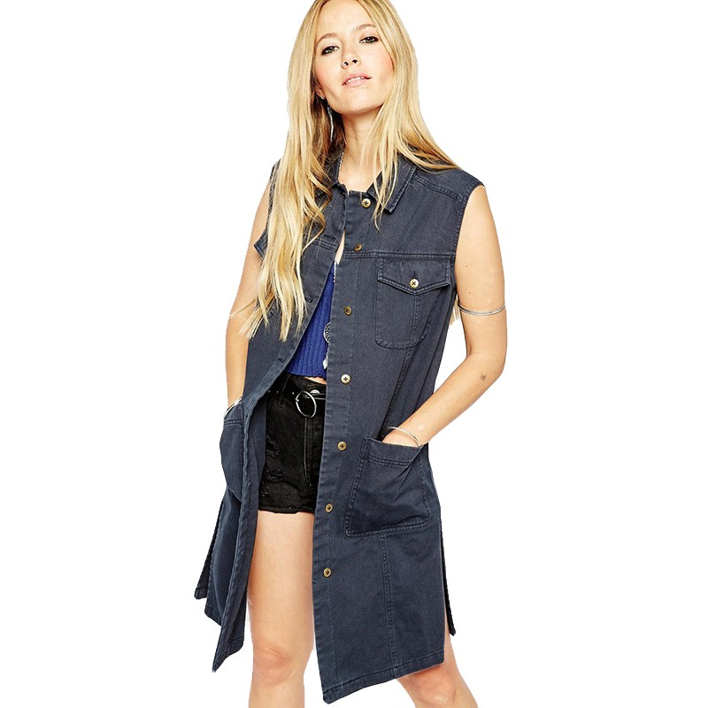 2015 New Fashion Women Denim Vest Punk Style Classic Four Pocket Vintage Woman Wild Sleeveless Long Vest Women Vest OutwearJT241 (1)