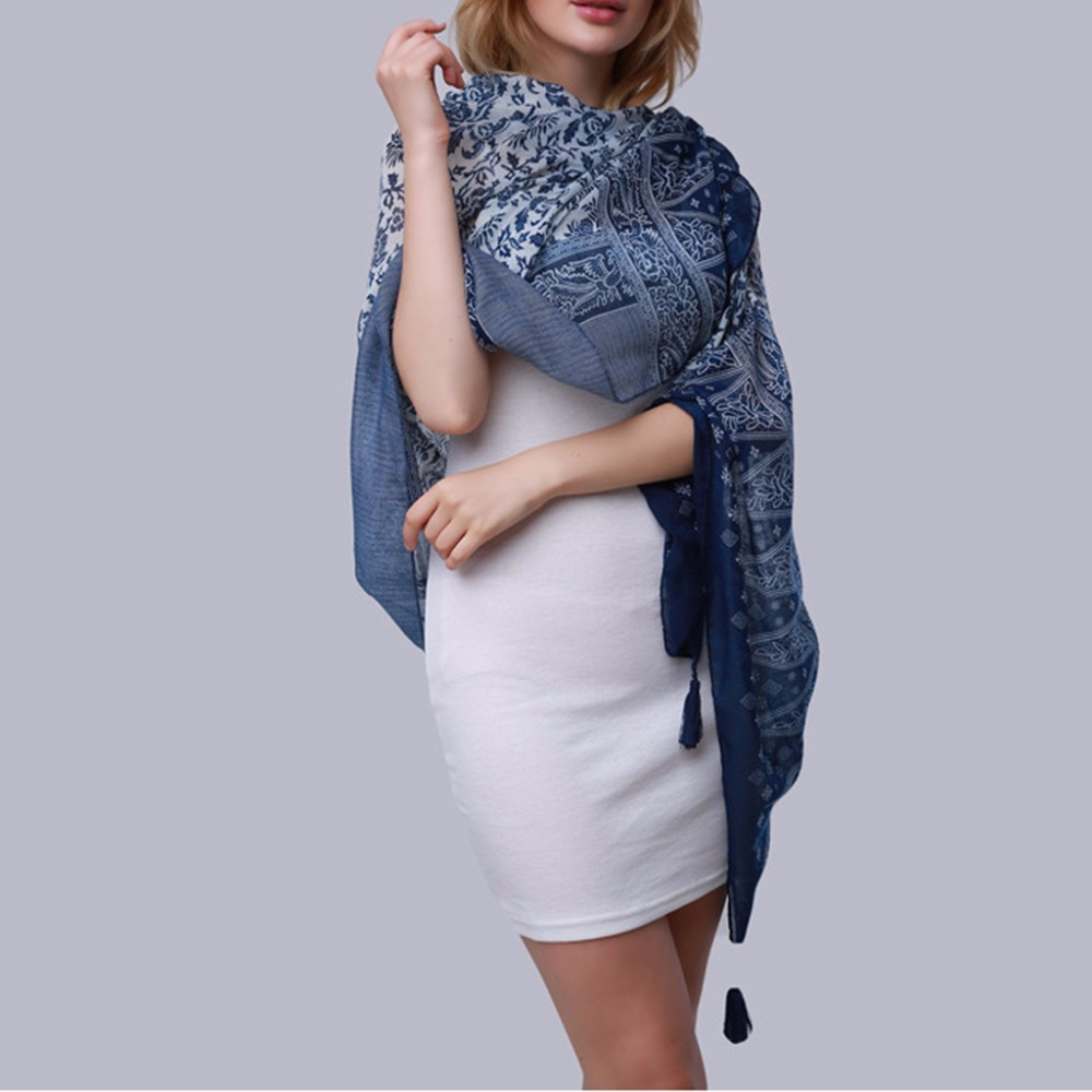 Summer Beach Blue And White Porcelain Print Tassel Exquisite Pretty Long Soft Scarf Wrap Shawl 2017 New KLV