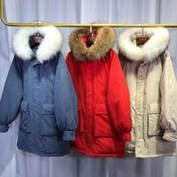 Winter Women's White Duck Down Jacket 2018 Winter Jacket Women Large Real Raccoon Fur Hooded Feather Parkas For Female Long Coat