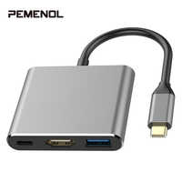 3 en 1 USB 3.1 type-c à HDMI USB3.0 type-c femelle Multiport adaptateur Hub adaptateur convertisseur pour Xiaomi iPhone Huawei Macbook nouveau