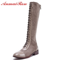 AnmaiRon Basic Round Toe Women Winter Shoes Genuine Leather Knee High Boots Fashion Shoes 2018 Women Shoes SIZE 34 40 LY209
