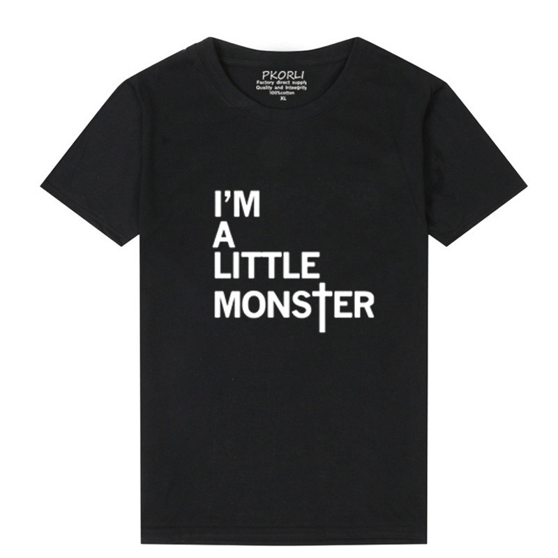 Pkorli Harajuku Lady Gaga T Shirt Letters Printed IM A Little Monster Womens T-Shirt For Girls Casual Cotton O Neck Funny Tops