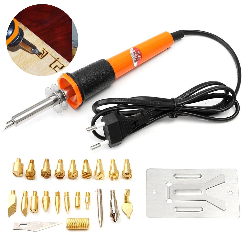 Super PDR 25in1 Electric Soldering Iron Kit EU/UK/US Plug 60W Wood Burning Electronic Iron Pen Set Kit Comfort Grip Hand Tools