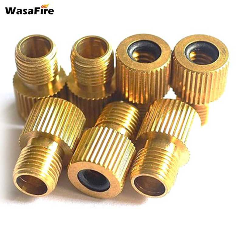 WasaFire Copper Road Bike Light Bicycle Valve Adapters Wind Fire Wheels Adapters Gas Nozzle Air Valve Conversion Head Converter