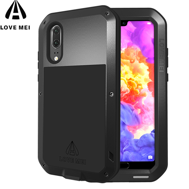 new styles a6da5 5b588 US $56.0 |LOVE MEI Metal Case For Huawei P20 Shockproof Cover For Huawei  P20 Pro P20 Lite Case Aluminum Protection P20 Gorilla glass-in Phone Pouch  ...