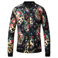 2016 New Men Jacket Fashion Casual Designer Brand O-Neck Leopard Flower Printed Floral Jacket T0120