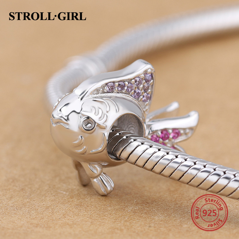 Lovely 925 Sterling Silver Original Animal Fish With CZ Beads Fit Authentic pandora Charm Bracelet & Necklace Fashion Jewelry