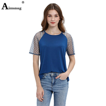New Fashion 2019 Women splice Perspective Sheer Mesh Solid Tee short Sleeve O-neck Tops Female T Shirt Plus size s-2xl