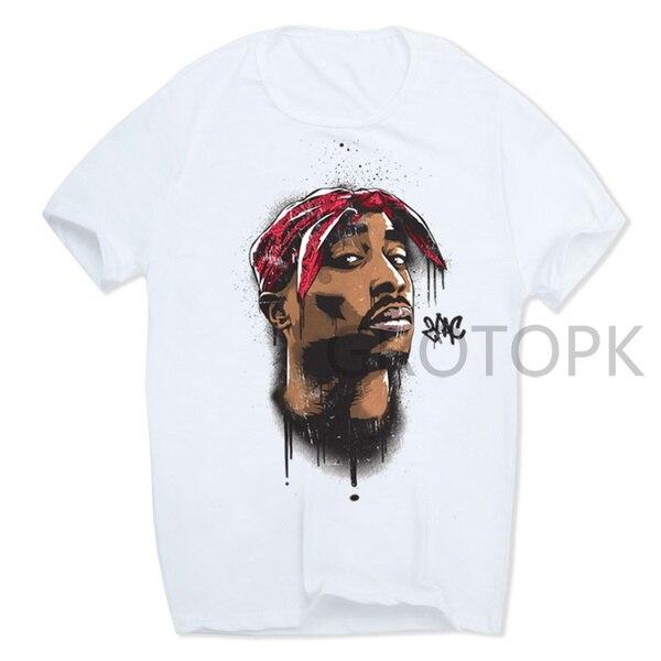 2019 Men's Print Tupac 2pac T-shirt Short Sleeve O-Neck White Tshirt Hip Hop Swag Harajuku Streetwear T Shirt