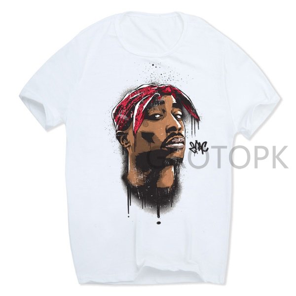 2019 Men's Print Tupac 2pac   T  -  shirt   Short Sleeve O-Neck White Tshirt Hip Hop Swag Harajuku Streetwear   T     Shirt
