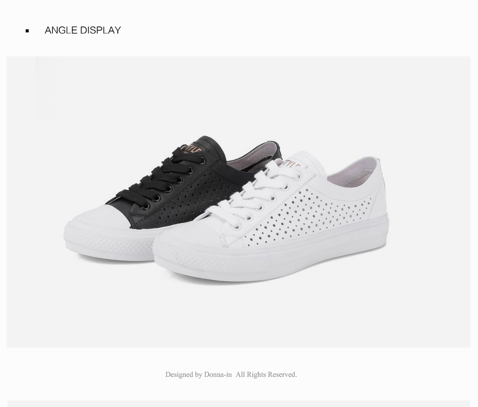 Donna-in 2019 New Women Flats Sneakers Genuine Leather Shoes Lace-up Cut-outs Flat Casual Women Shoes Hollow Summer Black White (19)
