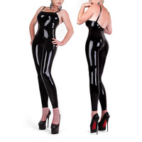 Latex Rubber Bodysuit Sexy Catsuit with shoulder straps Coveralls Rubber Latex Straitjacket