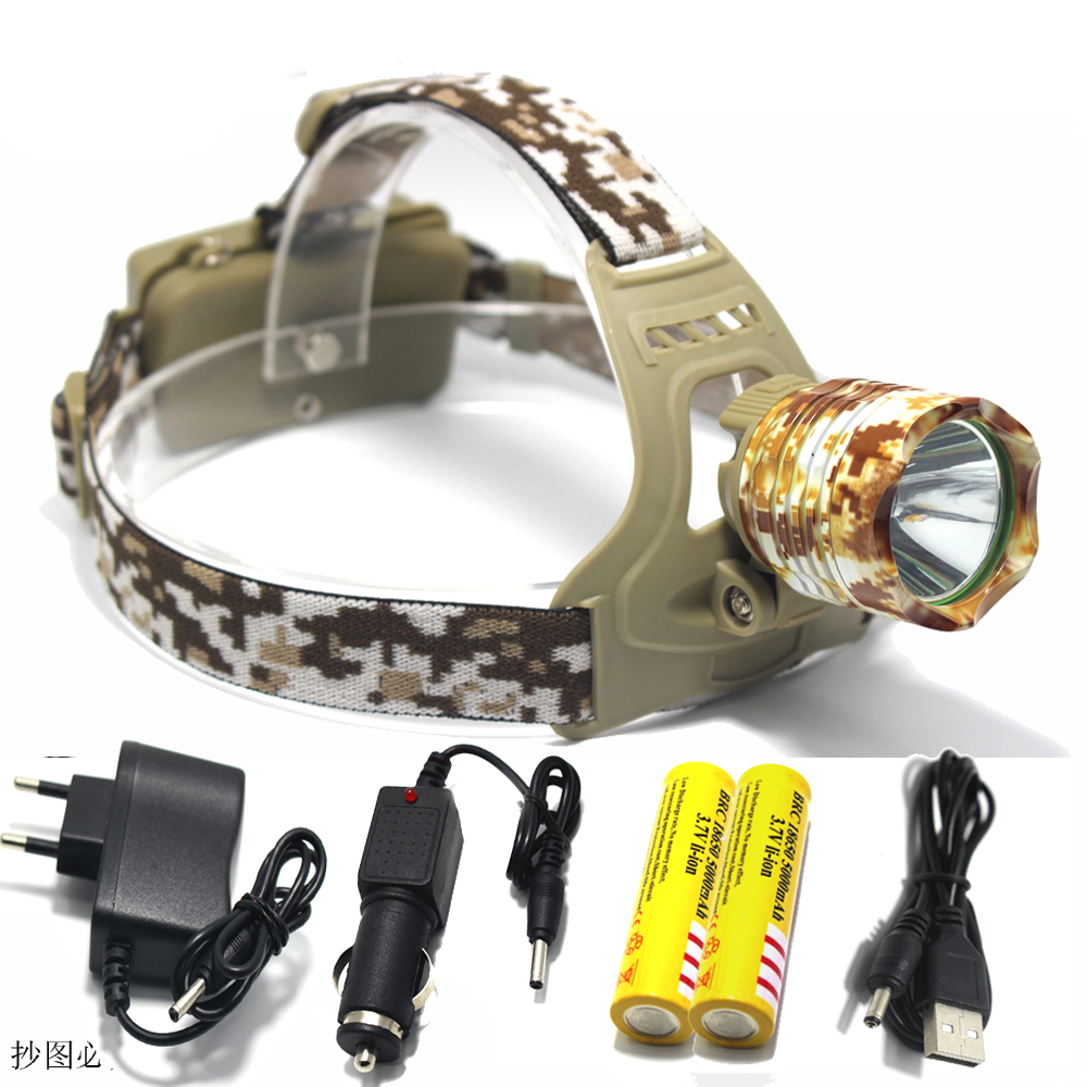 2000 Lumen CREE XM-L T6 LED Camouflage Headlamp Headlight Head Torch camping Lamp Light +2x Battery+Car EU/US/AU/UK Plug Charger