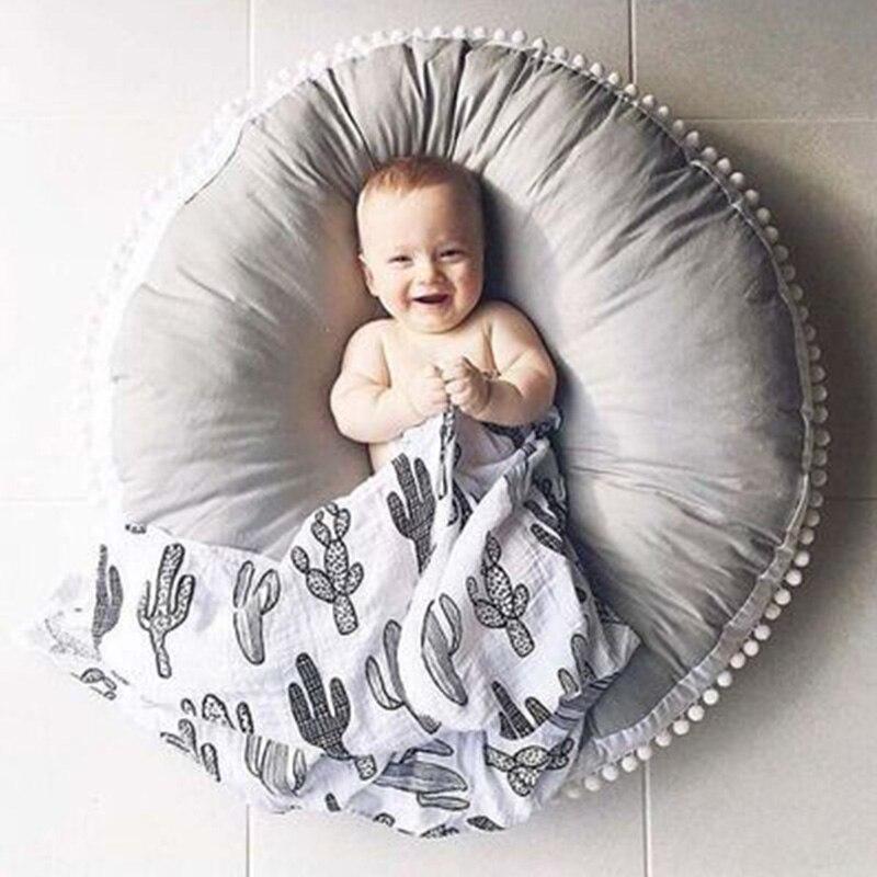 Nordique 90 cm bébé ramper tapis coton épais jouer Pad rond enfants jouer tapis jeu tapis tente couverture infantile enfants chambre tapis de sol